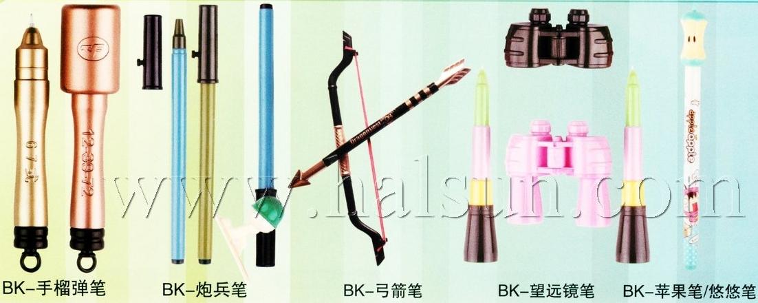 stand pens, desk pens,bow & arrow pens,grenade pens,artillery pens, lens pens,binoculars pens,telescope pens,arrow pens,apple pens,