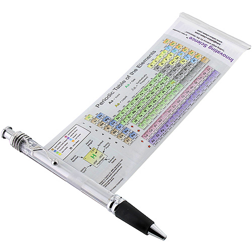 periodic table pen with metal clip and rubber grip